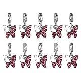 Kentop 10PCS Ciondolo in Lega di Argento Tibetano tachonada A Mano A Forma di Farfalla Accessori di Collana Bracciale Rosa