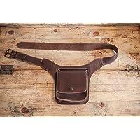 RIÑONERA cuero hombre // Bolso riñonera marrón de cuero // Bolso cinturón de piel // Cinturón de piel con bolsillos // RIñonera viaje ALFORJA