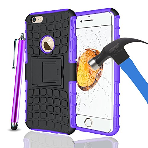 Apple iPhone 7Plus, Armor Case Tough Rugged Shock proof Armorbox Dual Layer Heavy Duty Carrying Hybrid Hard Slim Protective Case For iPhone 7 (with Kickstand) + Big Touch Pen + Tempered Glass-Pink Purple