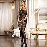 La biancheria intima sexy femminile calza le calze le tuniche di openwork del pigiami uniformi tentazione , black , one size