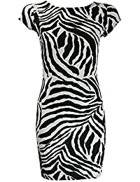 Home of Fashion Black and White Zebra Print Cap Sleeve Bodycon Dress