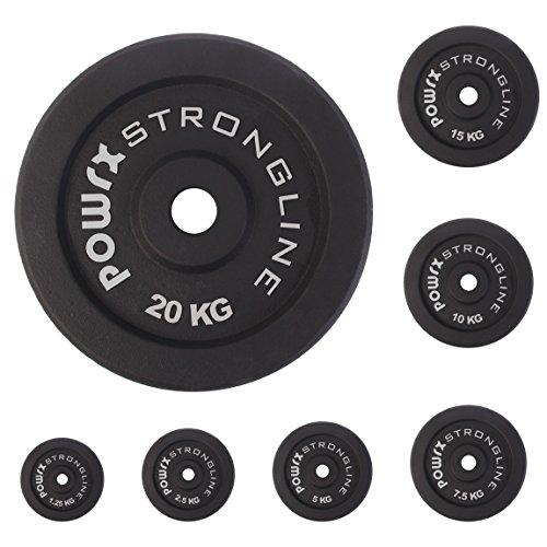 Dischi pesi ghisa 5 - 30 kg - Ideali per manubri e bilancieri con braccio da 30 mm - (2 x 2,5 kg / Nero)