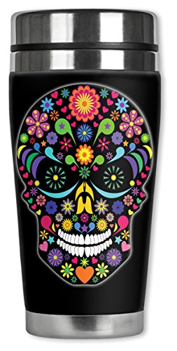Mugzie 950-MAX Multi Color Sugar Skull Stainless Steel Travel Mug with Insulated Wetsuit Cover, 20 oz, Black by Mugzie