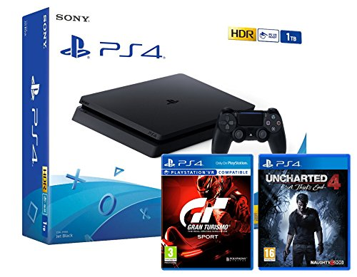 "PS4 Slim 1To Noir - Playstation 4 + Uncharted 4 : A Thief's End + Gran Turismo Sport ""GT Sport"""