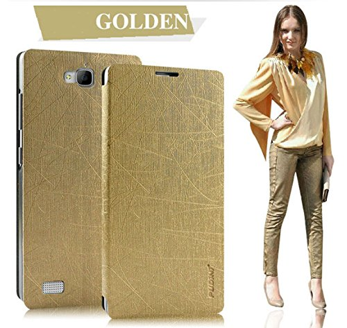 Pudini® Yusi Rain Series Leather Flip Cover Case for Huawei Honor Holly - Champaign Gold