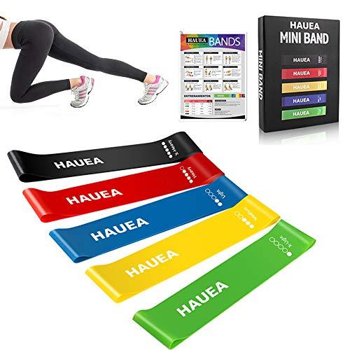 HAUEA Fitnessbänder Widerstandsbänder 5 Set Trainingsbänder aus natürlichem Latex Gymnastikbänder Loop Bänder für Beinen Training Yoga Fitness Therapie Muskelaufbau (Mit Logo)