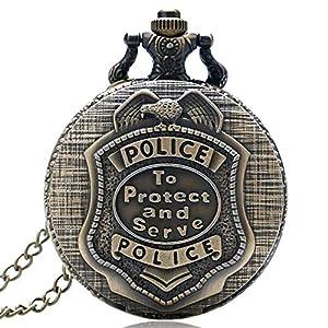 Herren Taschenuhr Vintage Police Taschenuhr Bronze Steampunk Quarz Taschenuhr Geschenk für Männer