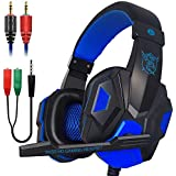 Xmowi 3.5 mm Wired Noise Isolation Gaming Headset and Audio Y Splitter Cable (1 Male to 2 Female) with Mic, Vol Control for Laptop Computer, Cellphone, PS4 (Blue)