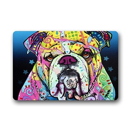KLing Benutzerdefinierte englische Bulldogge Muster maschinenwaschbar Haus Rutschfeste Fußmatte 16 x 24,40 cm x 60 cm