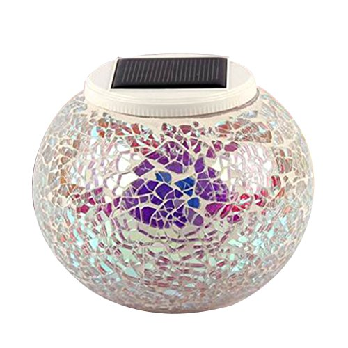 Solar Mosaic Glass LED Decorative Table Light View Night Waterproof IP44 Lamp for Lawn/Courtyard/Gifts Regard
