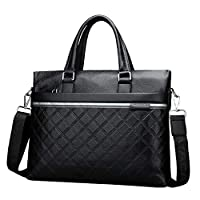 HGDR Men Handbag Genuine Leather Briefcase Bags Shoulder Bag Business Work Laptop Computer Bag,Black-39 * 7 * 28cm