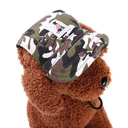 KDSANSO Hundemützen, Welpenmütze für Kleine Hunde Visier Design Mode Hunde Baseball Sonnenhüte Sportkappe mit Ohrmuscheln und Kinnriemen für Welpen Chihuahua Teddy Mops Ankleiden (Camouflage S) (Hunde Im Teddybär Kostüm)