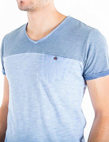 Timezone Herren Karl Colourblock T-Shirt Blau (Aluminium 3046)