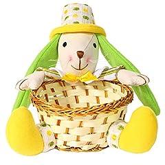 Idea Regalo - Valery Madelyn 17 * 17 * 19CM Tessuto tradizionale giallo e verde Coniglio / Coniglio con orecchie verdi e cesto, porta fiocco a righe gialle e cappuccio verde giallo
