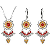 Lucia Costin Silver, Red, Yellow Crystal Jewelry Set with Dots