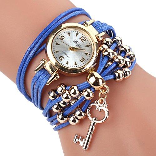 HUIHUI Uhren Damen, Geflochten Armbanduhren Günstige Uhren Wasserdicht Casual Analoge Quarz Uhr Armband Coole Uhren Lederarmband Mädchen Frau Uhr (Blau)