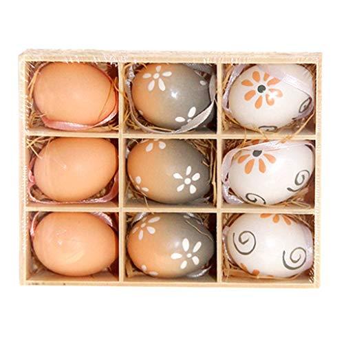 Flameer 9 pezzi di uova di pasqua in plastica fatte a mano dipinte per regali di caramelle decorate - b, come descritto