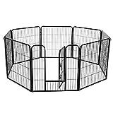 FEANDREA Recinzione Recinto per Cani Conigli roditori Animali Rete Gabbia di 8pz Ferro Nero 80 x 80 cm PPK88H