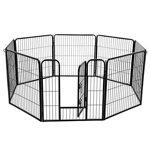 FEANDREA Welpenauslauf Welpenlaufstall Tierlaufstall Freilaufgehege Hundelaufstall Welpenzaun Absperrgitter für Hunde Kaninchen kleine Haustiere 8-Eck schwarz 80 x 80 cm PPK88H -
