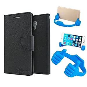 Aart Fancy Diary Card Wallet Flip Case Back Cover For Sony Xperia C4 -(Black) + Flexible Portable Mount Cradle Thumb Ok Stand Holder By Aart store