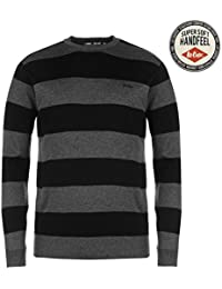 Lee Cooper Homme Rayure Crew Tricote Jumper Pull Top Haut Col Rond Manche Longue