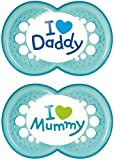 MAM Style I Love Mummy and Daddy Soother Suitable 6+ Months with Sterilisable Travel Case - Pack of 2, Blue (Designs May Vary)