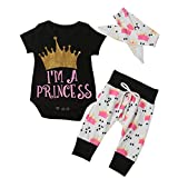 Baby Girls Clothes,3PCS Kid Baby Girls Crown Letters Romper+Pant+Headband Clothes Outfit Set (80)