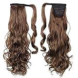 Damen Clip in Hair Extensions Haarteil Hairpiece Zopf Pferdeschwanz Haarverlängerung 60cm Gewellt