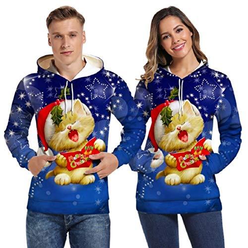 Bluelucon Herren Damen Realistisch 3D Druck Unisex Kapuzenjacke Weihnachten Kätzchen Cartoon Aufdruck Reißverschluss Sweatjacke Sportjacken Mit Taschen - Herren 80's Cartoon Kostüm