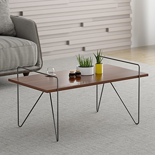 Bein Nuss (CTF Stella Walnuss Wohnzimmer Tisch Couchtisch Beistelltisch mit gebogenen Metall Beine)