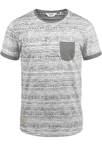 !Solid Ingo Herren T-Shirt Kurzarm Shirt Mit Rundhalsausschnitt und Inka-Print Aus 100% Baumwolle, Größe:L, Farbe:Mid Grey (2842) -