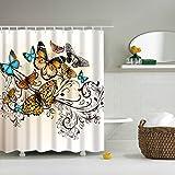 GWELL Tier Wasserdichter Duschvorhang Anti-Schimmel inkl. 12 Duschvorhangringe für Badezimmer 180x200cm Schmetterling