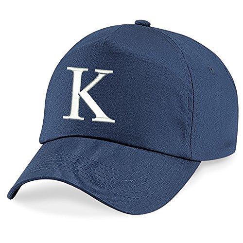 Navy Blue Baseball Cap Hut (4sold Bindemütze Babymütze Jungen Mütze Kleinkindmütze Sommermütze 100% Baumwolle Mädchen Unisex Kinder Hut Kinder Kappe Navy blau Alphabet A-Z Cap)