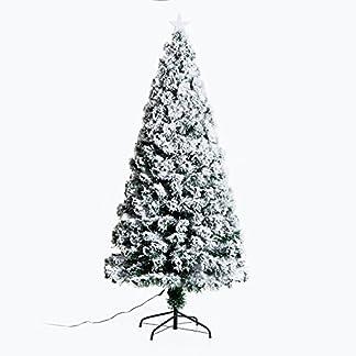 HOMCOM-Weihnachtsbaum-18-m-knstlicher-Christbaum-Tannenbaum-Baum-mit-Stnder-inklohne-DekorLichtfaser-180cm-weiWeihnachtsbaum