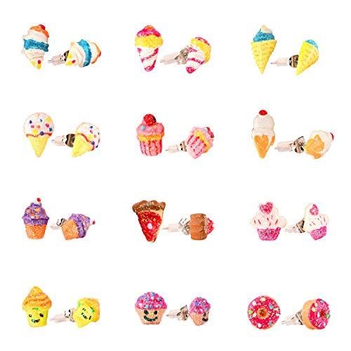 Mädchen Ohrringe Hypoallergen, Kinder bunte niedliche Eis Ohrstecker für Kinder Geschenk-Set von 12 Paaren