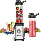 Sboly Stabmixer Einfache Portion Mixer für Smoothies und Shakes, Kleiner Saftmixer mit 2 Tritan BPA-Freien 600ml Mixbechern und Reinigungsbürste, 300W