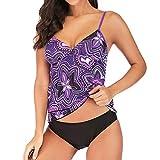 VJGOAL Damen Bikini Set Push Up Frauen Sexy High Waist Tankini Sommer Elegant Konservativ Nationaler Stil Drucken Beachwear Gepolsterte Badebekleidung(Lila,M)