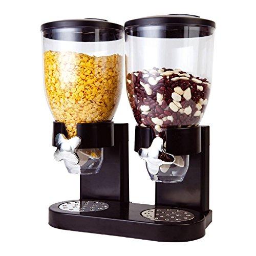 Taylor & Brown® Doppel-Spender für Cornflakes, Müsli oder andere trockene Lebensmittel, Kunststoff schwarz