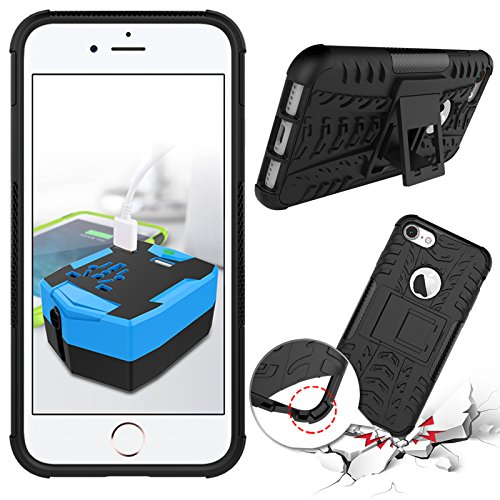 iPhone 7étui portefeuille en cuir pour livre, newstars léger à rabat strass Bling Diamant Strass PU Case Design Coque Protège la peau étui en cuir pour Téléphone Portable iPhone 77g + 1protection  noir