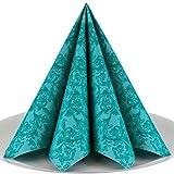 Servietten Ornament Premium Airlaid, STOFFÄHNLICH | 50 Stück | 40 x 40cm | Hochzeitsserviette | hochwertige edle Serviette für Hochzeit, Geburtstag, Party, Taufe, Kommunion | made in Germany