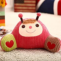 Remeehi Cartoon apoyo lumbar cintura respaldo del asiento cojín lectura almohada almohada, algodón, diseño de mariquita, 35 X 58cm/13.78 X 22.83 inch