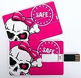 Witziger USB Stick im Visitenkartenformat, Scheckkarte, Kreditkarte, 4 GB, Totenkopf pink mit Schleife, Skull