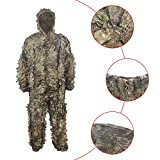 HYFAN Ghillie Trajes 3D Hojas Woodland Camuflaje Ropa Ejército al Aire Libre Ropa Militar Camo para Jungle Hunting, Paintball, Airsoft, Fotografía de Vida Silvestre, Halloween (Verde)