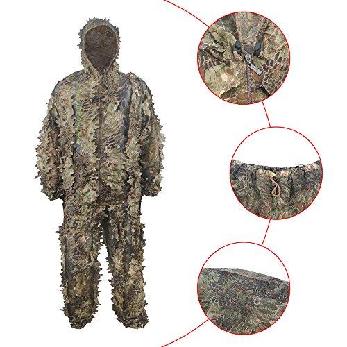 HYFAN Ghillie Anzüge 3D Blätter Wald Camouflage Kleidung Outdoor Army Military Camo Kleidung für Jungle Jagd, Paintball, Airsoft, Wildlife Fotografie (Grün) (Halloween-kostüme Von Zu Schnelle Einfache Und Hause)