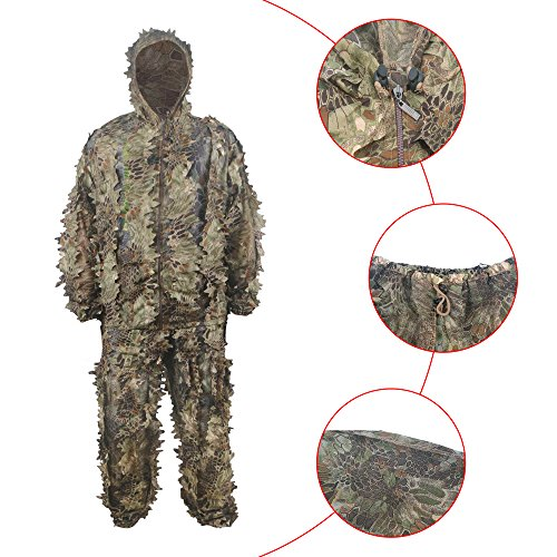 (HYFAN Ghillie Anzüge 3D Blätter Wald Camouflage Kleidung Outdoor Army Military Camo Kleidung für Jungle Jagd, Paintball, Airsoft, Wildlife Fotografie (Grün))