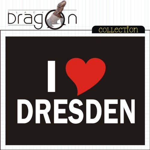 V-T-Shirt mit Städtenamen - i Love Dresden - Damen Schwarz