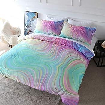 Blessliving Colorful Marble Bedding Pastel Pink Blue