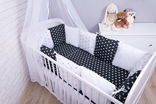 Amilian® Baby Nestchen Bettumrandung 420 cm Design: Sternchen Schwarz + A3 Bettnestchen Kantenschutz Kopfschutz für Babybett Bettausstattung