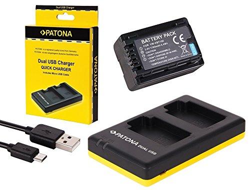 3in1-SET für die Panasonic HC-V160EG und HC-V180EG Camcorder --- Akku für VBT190 (1780mAh) + Dual Ladegerät (laden Sie 2 Akkus via USB-Anschluss auf einmal) inkl. PATONA Displaypad