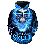 Toensishs Cool Blue Lightning Flame Print 3D Hooded Sweatshirt KU2094 M